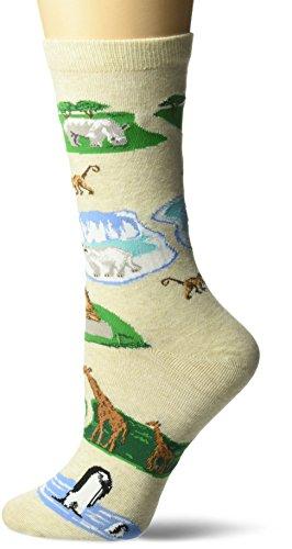 K. Bell Women's Playful Animals Novelty Casual Crew Socks, Zoo (Oatmeal), Shoe Size: 4-10