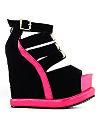 Show Story Hot Black White PeepToe Buckle Strappy Wedge Platform Sandals,LF38823