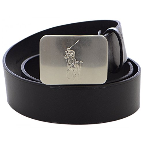 Ralph Lauren Plaque Belt (Men's Polo Ralph Lauren Pony Plaque Leather Belt-Black 32)