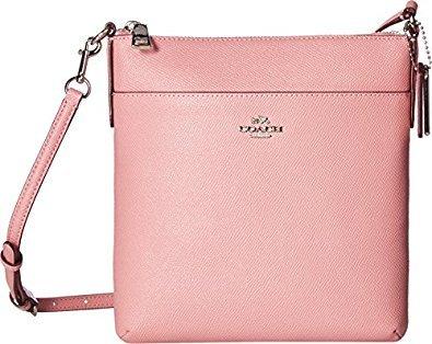 COACH Women's Crossgrain Leather Courier Crossbody SV/Pink Crossbody Bag