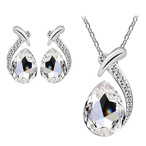 Earrings Lariat Set - Women Jewelry Set,Toponly Women Crystal Silver Fish Necklace Stud Earring Jewelry Set (fashion White)