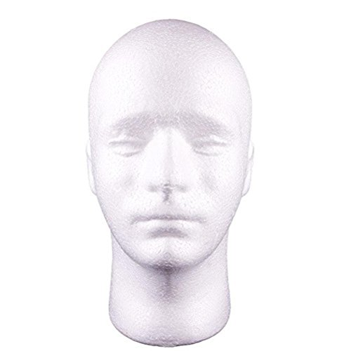 Buytra Styrofoam Mannequin Head with Male Face for Displaying Wig Glasses Hat Display Craft Projects, White (Male Heads)