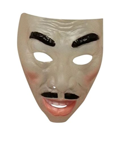 Faerynicethings Adult Size Transparent Masks - Asian Man with Mustache -