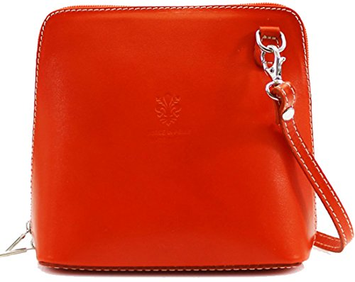 Over Messenger Ladies Pelle Handbags Small Women Vera Leather Bag Orange Cross Shoulder Body Bags Italian Genuine TrcqTwxYv1