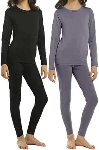 ViCherub Thermal Underwear Set for Girls 2 Sets Kids Long Johns with Fleece Lined Top & Bottom Base Layer Thermals for Girl