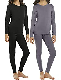Thermal Underwear Set for Girls 2 Sets Kids Long Johns with Fleece Lined Top & Bottom Base Layer Thermals for Girl