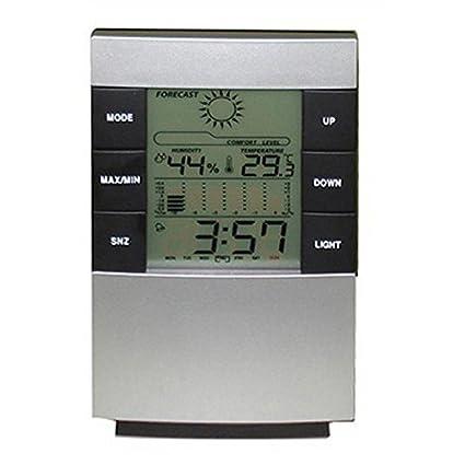 Calendario Digital termómetro higrómetro Reloj Hogar grande de la luz de fondo LED relojes de alarma