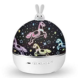 Bunny Night Light for Kids, Star Projector with Music, Baby Girl Gifts