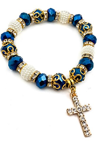 Catholic Crystallized Cross Deep Blue Crystal Beads Wrist Rosary Bracelet Adjustable Elastic Bangle (First Bracelet Communion Beaded)