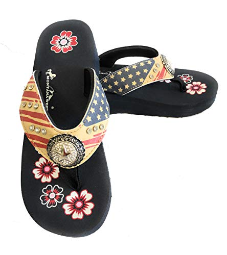 (Montana West Women Flip Flops American Price Collection US Flag Rhinestone Star Concho Wedge Style Sandals Size 11 Beige)