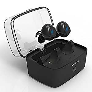 Bluetooth headphones, Nasudake J7 True Wireless Headphones Earbuds, Cordless Bluetooth Earbuds w/ Portable Charging Box for iPhone X/8/8 plus/7/6, Samsung and Android Smartphones and Tablets (Black)