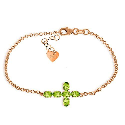 ALARRI 1.7 CTW 14K Solid Rose Gold Cross Bracelet Natural Peridot Size 7.5 Inch Length by ALARRI
