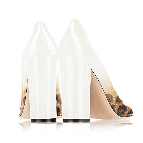 EKS - Zapatos de vestir para mujer White-Leopard
