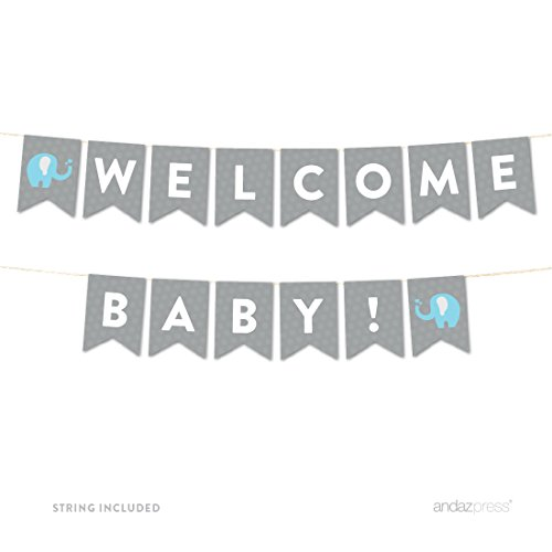 Andaz Press Boy Elephant Baby Shower Collection, Hanging Pennant Party Banner with String, Welcome Baby!, 5-Feet, 1-Set, Decor Paper Decorations]()