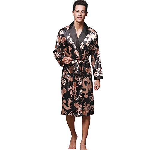 ZUEVI Men's Long Sleeve Satin Kimono Robe Dragon Lightweight Bathrobe Pajamas(Black-L)