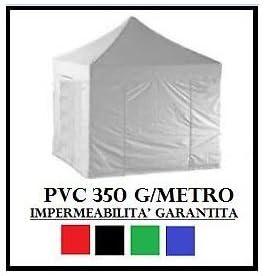 Carpa plegable 3 x 3 rojo acero + 4 Laterales laterales PVC 350 g ...