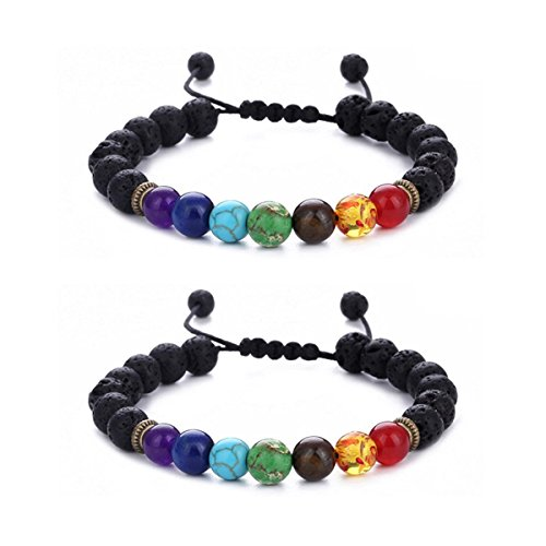 Lava Rock 7 Chakras Beads Bracelet Braided Rope Gemstones Yoga Bracelet Bangle (2 Pcs Lava Chakra) ()