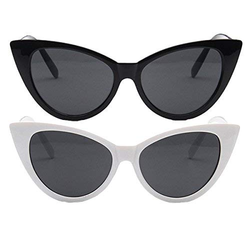2 Packs Cat Eye Sunglasses for Women Men Retro Reflective Lens Glasses Unisex(Black/White, Grey)