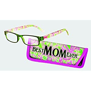 Eye Style Reading Glasses with Matching Eyeglass Case (+1.50, Best Mom Ever) by Spoontiques