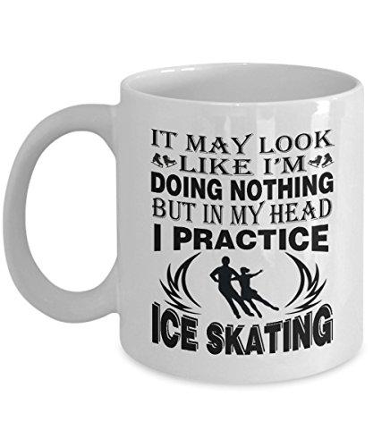 Ice skating Mug, Ice skating Coffee Mug Funny Gifts for Men Women Kids Ice skater as Seen on T Shirt, 11 Oz White Ceramic Cup ()