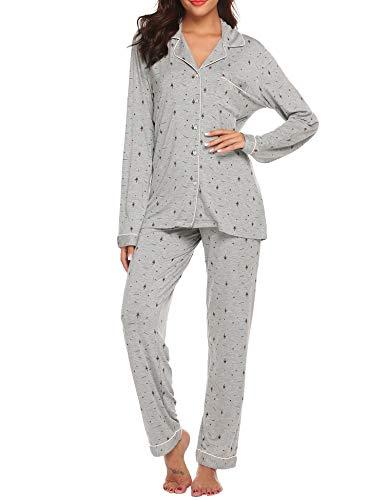 Ekouaer Sleep Set Women's Long Sleeve Pjs Top with Long Pants Sleepwear Loungewear Set (Christmas Grey,L)