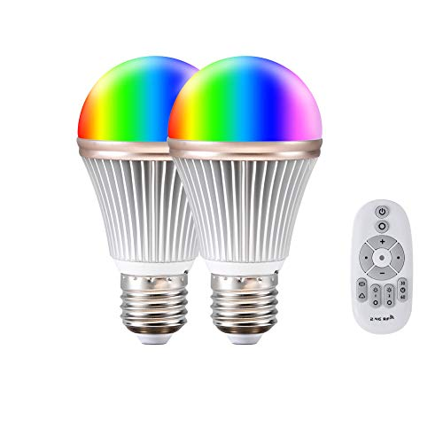 Smart Led Light Bulb Aomilai Multicolor 9W RGB with Day Light and Warm Light Color Temperature Adjustable,Dimmer Household Light Bulb for Bedroom with 2.4G RF Wireless Remote Controller,E26 Pack-2