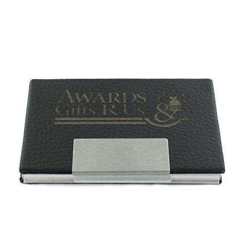 Black Leatherette and Silver Aluminum Card (Black Leatherette Card Case)