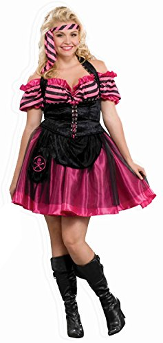 Forum Novelties Women's Plus-Size Pink Pirate Dancer Costume, Multi, Plus -