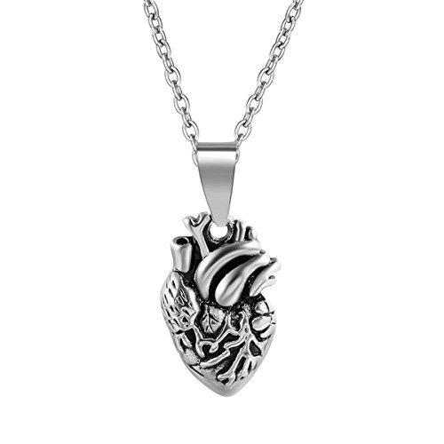 Kebaner+Heart+Felt+Stainless+Steel+Anatomical+Heart+Human+Organ+Punk+Silver+Necklace+For+Women+Men