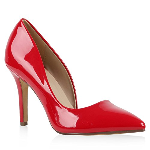 Stiefelparadies Elegante Spitze Pumps Damen High Heels Lack Stilettos Animal Print Flandell Rot Lack Carlet