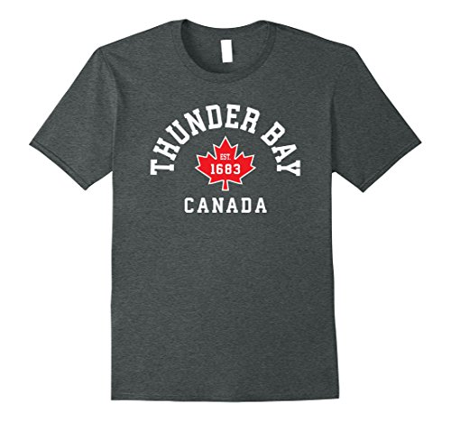 Mens Thunder Bay Canada T Shirt Canadian Flag Maple Leaf Gift Tee Large Dark Heather