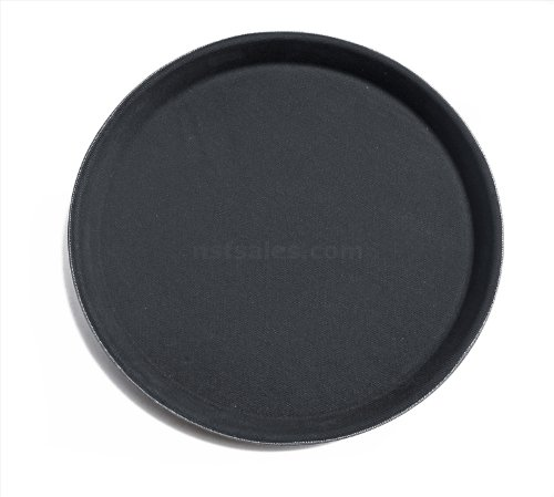 Drink Tray - New Star Foodservice 24913 Non-Slip Tray, Plastic, Rubber Lined, Round, 11-inch, Black