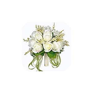 FAT BIG CAT Bridal Bouquet Ivory Rose Throw Wedding 18 Flowers Bridesmaid Bouquet 114