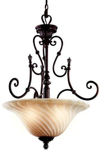 Kichler Lighting 42513LZ Sarabella 3-Light Inverted Pendant, Legacy Bronze with Wispy Umber Crackle Glass - Inverted Pendent