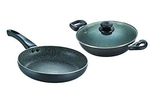 Prestige Omega Deluxe Granite Aluminium Cookware Set, 2 Pieces, Black