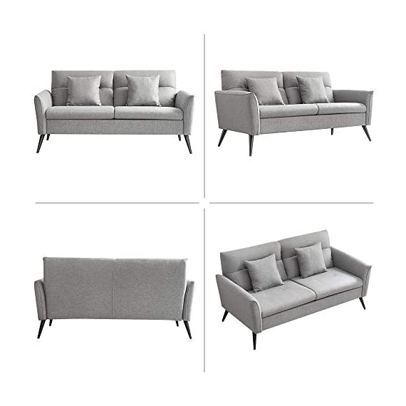 Vonanda Living Room Chair, Nordic Style Couch Sofa with High Performance Fabric and Unique Design Lines, 180 Days Worry-free Trial (Dark Grey Sofa) - ✔【Unique Design Lines】--This sofa shows the minimalism of Nordic design and timeless modern style; Simple lines outline rich sense of beauty and brighten up your room. ✔【Combination of the Metal and Wooden】--The structural frame of the chair is made of the metal and wooden, which makes the chair stronger and more durable. Under normal use, the chair will never collapse. ✔【High Performance Fabric 】--Selected close cotton and linen fabric, with highly breathable and skin-friendly, wear-resistant and anti-static, natural and no peculiar smell. - sofas-couches, living-room-furniture, living-room - 41vDtaV6TGL. SS570  -