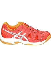 Gel Game 5 GS Junior Tennis Shoe (Coral/White/Orange)