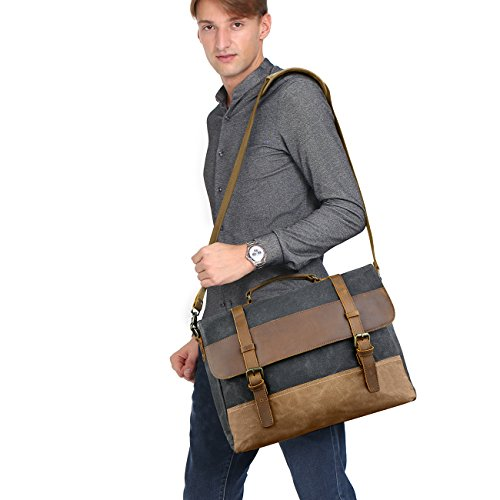 WOWBOX 15.6 Inch Messenger Bag for Mens Waxed Waterproof Canvas Genuine Leather Laptop Messenger Bags Men Business Briefcase Vintage Large Shoulder Bag School College Satchel (Gray) by Wowbox (Image #1)