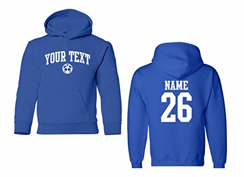 Custom Kids Hoodie (Youth Hooded Sweatshirt Custom Personalized, Soccer Arched Text, Back Name & Number)