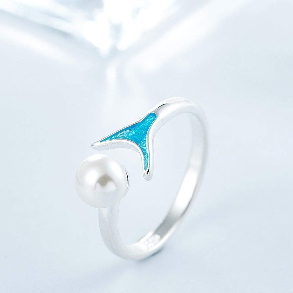Lady Ring Pearl Blue Fish Tail Opening Ring-Romantic Fashion Design