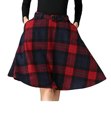 Domple Womens Vintage Plaid Wool High Waist A-Line Knee Length Sakter Skirts