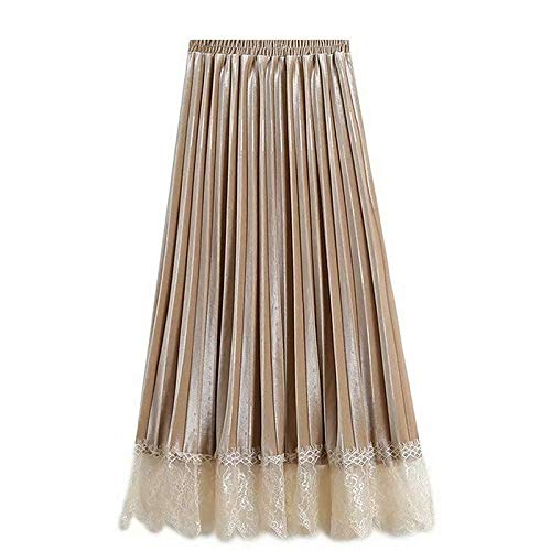 Beige Women's midi Swing Skirts  Solid colord