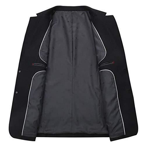 couleur Noir En Pour Hommes coat Xxxxl Noir Laine Décontracté Taille Trench Casual Acvxz HqBa78x
