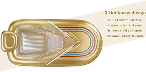 インフレータブルバスタブ家庭用大型アダルト肥厚折りたたみ風呂バレルフルボディバスタブ (Color : Champagne)