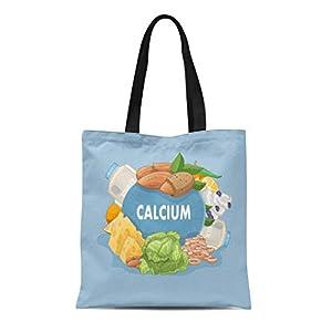 Assorted Agriculture Foods Rich In Calcium Cartoon Canvas Shoulder Tote Bag 41vDv44tp5L