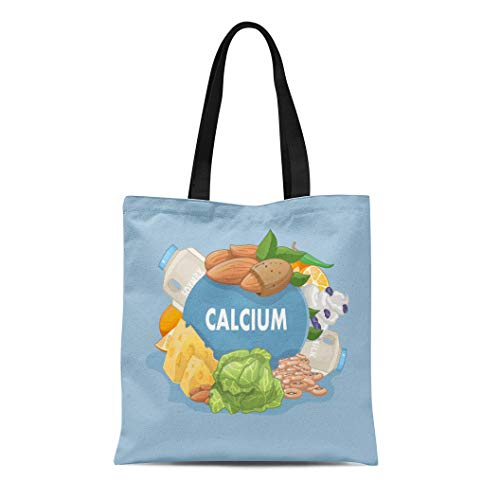 (Semtomn Canvas Tote Bag Shoulder Bags Assorted Agriculture Foods Rich in Calcium Cartoon Almonds Care Women's Handle Shoulder Tote Shopper Handbag)