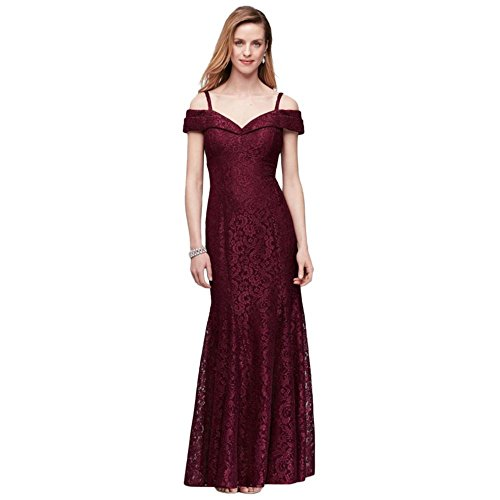 Cold-Shoulder Glitter Lace Mermaid Mother of Bride/Groom Dress Style 2047, Merlot, 10 (Mother Of The Bride Cold Shoulder Dress)