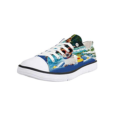 Canvas Sneaker Low Top Shoes,Funny,Jack Russell Dog with Sunglasses Sitting on The Lake Beach Puppy at Beach Picture Women 12/Man 9