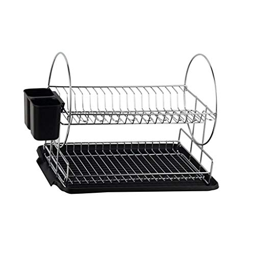 (GAOYANG Crockery basket Drying cabinet for kitchen chippers, kitchen countertop Storage shelf Kitchen shelf Stainless steel Double draining rack Cabinet Multifunctional storage rack (Color: Black))