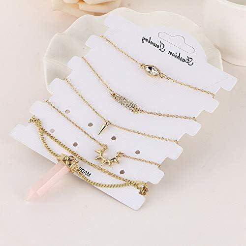 5Pcs Model BRCLT Werrox Crystal Tassel Love Heart Anklet Ankle Set Foot Chain Beach Bracelet for Women 20559